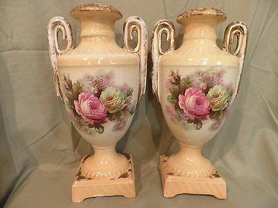 LOVELY PAIR OF FENTON/JAMES KENT OLD FOLEY WARE VASES/URNS VICTORIAN/SHABBY CHIC