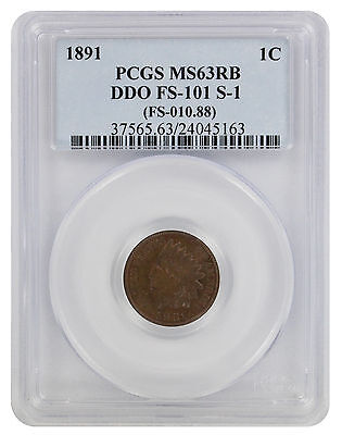1891 Indian Cent MS63RB PCGS DDO FS-101 S-1 Cherrypicker Double Die Obverse