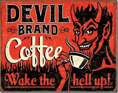 Devil Coffee Ad Wake The Hell Up TIN SIGN funny metal poster bar decor DS#2042
