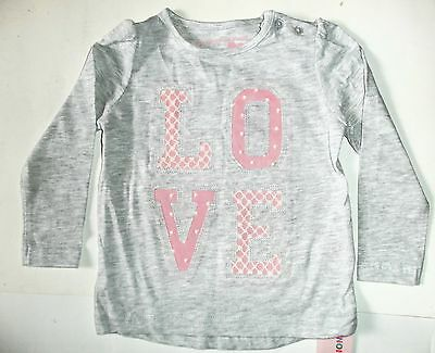 Baby Girls Grey Long Sleeved Top with  LOVE detail