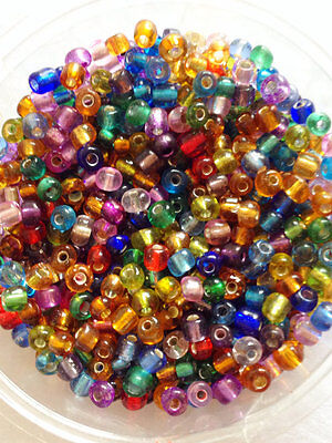 50g glass seed beads - Mixed Silver-Lined - approx 4mm (size 6/0) colour mix