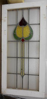"LARGE OLD ENGLISH LEADED STAINED GLASS WINDOW Unique Floral Heart 20"" x 41.75"""