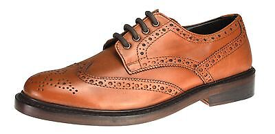 Benchgrade 1920 Mens Tan Brown All Leather Handmade Welted Brogue Lace Up Shoes