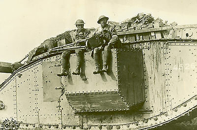 8x12 Photo American Photographers Going to War on a British Tank in France  1918