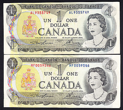 Canada LAWSON / BOUEY $1  * 2 Crisp VF/VF+ Notes Ottawa 1973