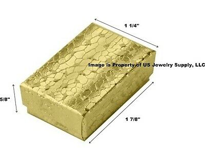 """Wholesale 500 Small Gold Cotton Fill Packaging Gift Boxes 1 7/8"""" x 1 1/4"""" x 5/8"""""""