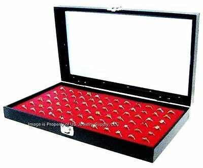 Wholesale 2 Glass Top Lid Red 72 Ring Display Portable Storage Boxes Cases