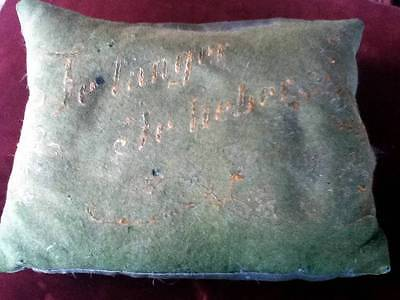 Vintage green pillow German1869 embroidered lace milinary Antique  Free Shipping