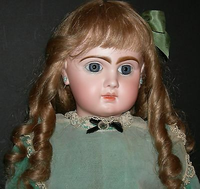 """Tete Jumeau - 25"""" - Blue Paperweight Eyes & Eyebrows That Almost Touch!!- Lovely"""