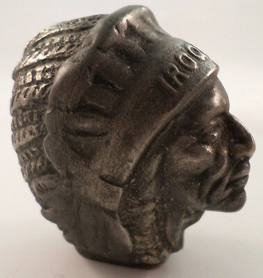 IROQUOIS INDIAN HEAD BUST GEAR SHIFT KNOB CHROME PLATED ALUMINUM VINTAGE PATINA