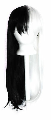 27'' Long Straight Split w/ Short Bangs Half White Half Black Cosplay Wig NEW