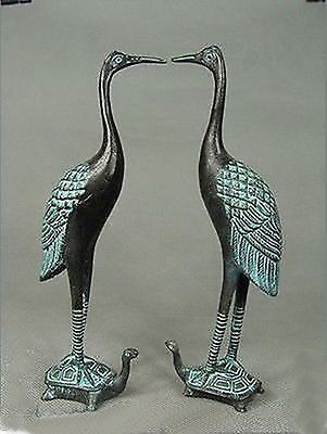 A pair of Chinese Hand Carved red-crowned crane & Tortoise Bronze Statue