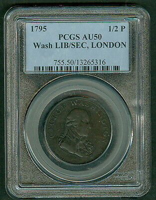 1795 1/2p, Washington Liberty/Security, London edge PCGS AU50