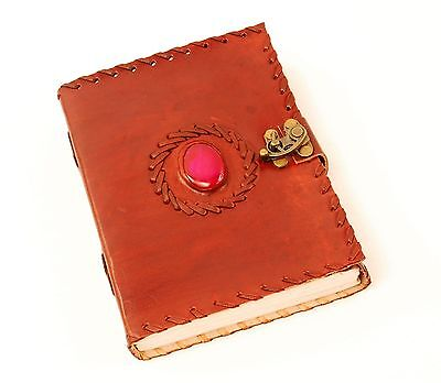 Handmade Brown Tooled Leather Blank Journal Diary Notebook with Pink Stone (560)