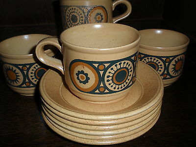 Retro 1970's  Kiln Craft Ironstone Cups & Saucers x 6