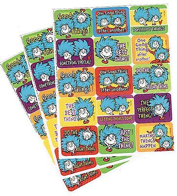 3 Sheets DR SEUSS Stickers Cat in the HAT Thing 1 and Thing 2 Reward Praise!
