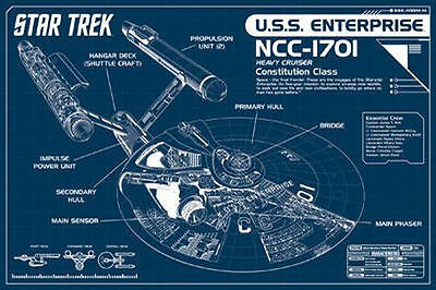 STAR TREK - ENTERPRISE BLUEPRINTS POSTER - 24x36 ORIGINAL SERIES SHIP 241272
