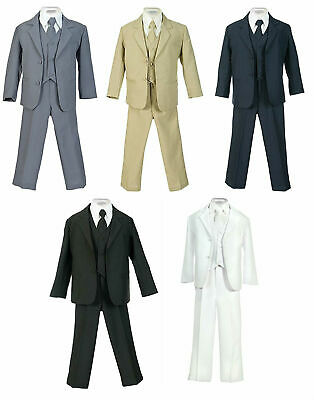 Boys Suit Black Kids Children Formal Dress Party Toddler Size S-XL 2T-4T 5-20 S