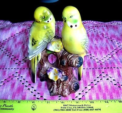 Vintage Parakeets Pair Figurine Made in Japan- Perfect cond