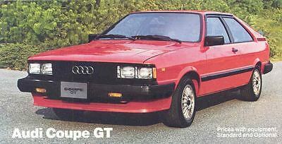 1984 Audi Coupe GT Mailer Brochure my3321