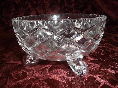 Stunning 24% Lead Crystal  Patterned Footed Dish