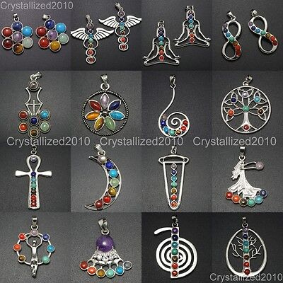 Natural Gemstones Moon Wings Cross Infinity Crown Chakra Healing Pendant Beads