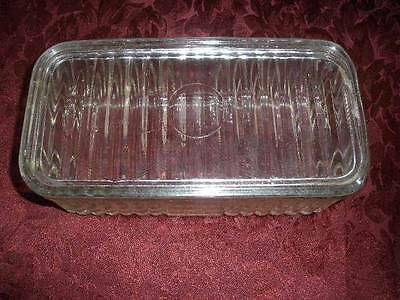 Stunning Retro Clear Glass   Corugated Pattern With Lid