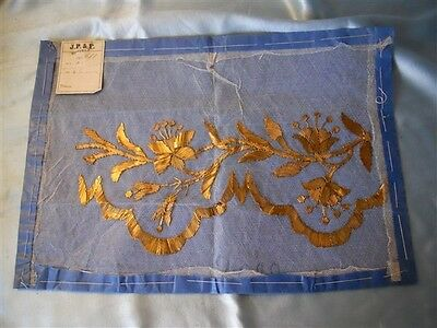 N  .  ANTIQUE FRENCH STUMPWORK GOLD METALLIC EMBROIDERY  19TH-CENTURY FLOWERS