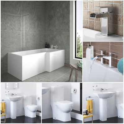 Right Hand L Shape Shower Bath Toilet Basin Full Bathroom Suite With Taps Pack