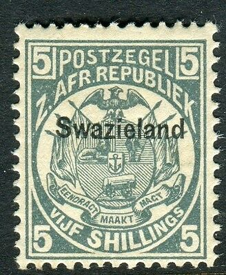 SWAZILAND-1889 5/- Slate Blue.  A fine mounted mint example Sg 8
