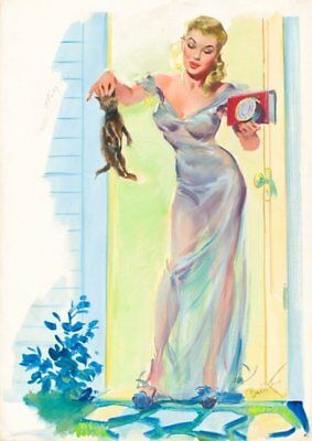 Joyce Ballantyne Blonde Pinup with Kitten Vintage Art Print - A4 A3 A2 A1