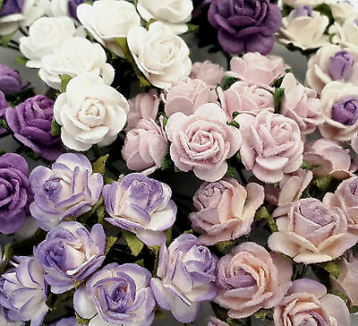 100 Mini Purple Paper Crafts Flower Wedding Rose Cards Dolls Home Decor R2-601