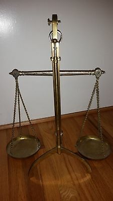 Vintage 1850 Brass Balance Justice Banker Scale Twin Circular Pans Setting Lever