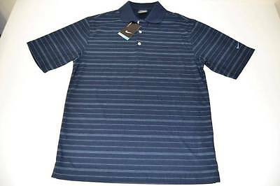 Nike Golf Navy Blue Striped Dry Fit Polo Shirt Mens Size Small S New