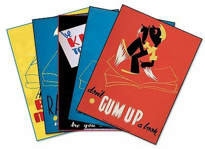 "SET of FIVE (5) US Library Book Posters Vintage WPA Prints circa 1936 - 18""x 24"""