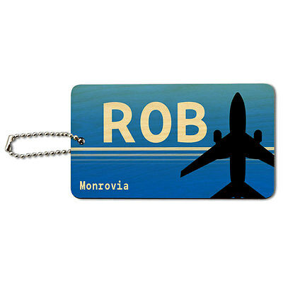 Monrovia Liberia (ROB) Airport Code Wood ID Tag Luggage Card Suitcase Carry-On