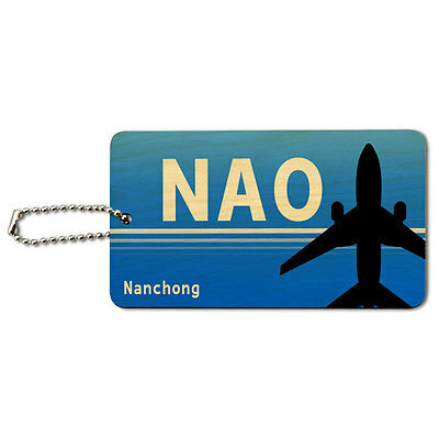 Nanchong China (NAO) Airport Code Wood ID Tag Luggage Card Suitcase Carry-On