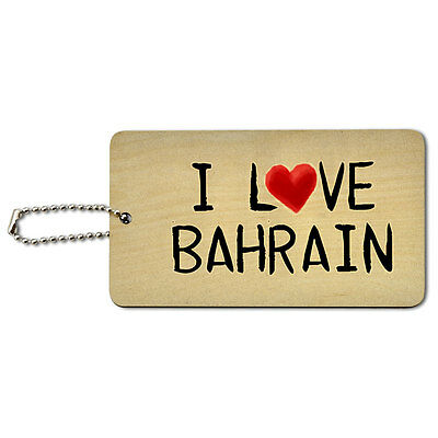 I Love Bahrain Written on Paper Wood ID Tag Luggage Card Suitcase Carry-On