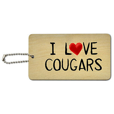 I Love Cougars Written on Paper Wood ID Tag Luggage Card Suitcase Carry-On