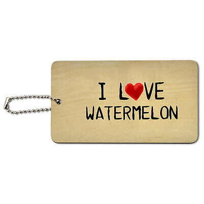 I Love Watermelon Written on Paper Wood ID Tag Luggage Card Suitcase Carry-On