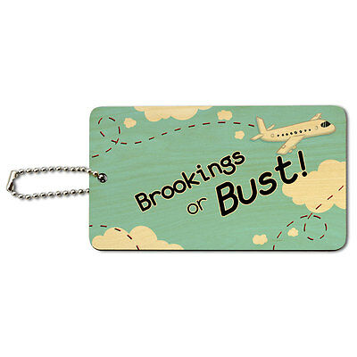 Brookings or Bust - Flying Airplane Wood ID Tag Luggage Card Suitcase Carry-On