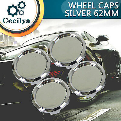New 62mm Dia Chrome Silver Replacement Car Wheel Centre Cap Covers Hubcap  4Pcs