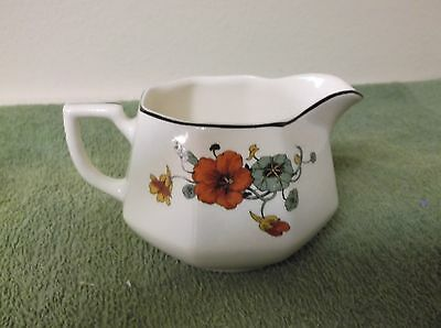 Beautiful Red and Green Flower Homer Laughlin Creamer Bowl with Spout and Handle