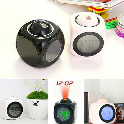 Digital LCD Voice Talking LED Projector Alarm Clock Temp Station Time Display