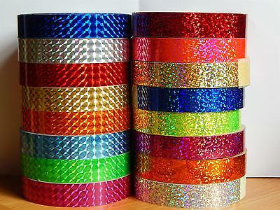 Holographic Hoop Tape - Prismatic Squares - Self Adhesive - 20mm x 10m - Lures