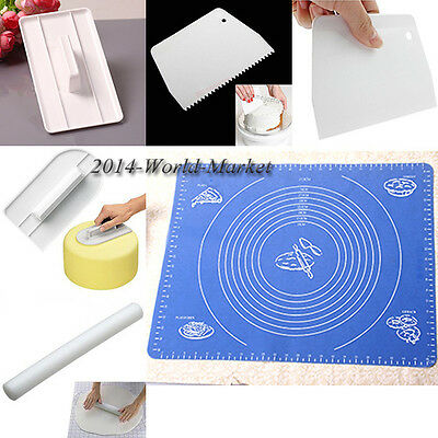 2015 Hot Fashion Fondant Cake Smoother Scraper Cutter Mat Roller Moulds Set #T