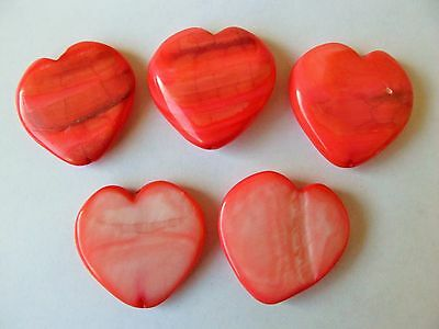 5 MOP Mother of pearl shell 30mm salmon coral pink heart pendant beads Valentine