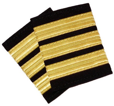 New 3 Bar Gold Pilot Epaulettes First Officer F/O Shoulder Boards Rank Insignia