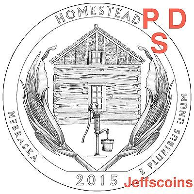 2x 2015 P D S Homestead National Park QUARTER Nebraska New U.S.Mint 25¢ coin PDS
