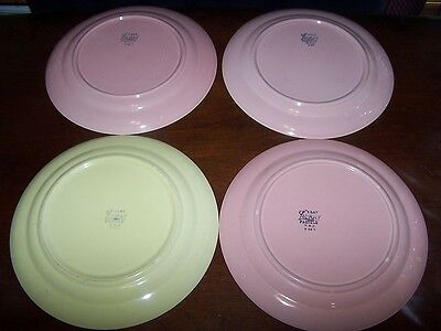 LURAY PASTELS YELLOW AND PINK TAYLOR SMITH LUNCHEON PLATE LOT OF 4